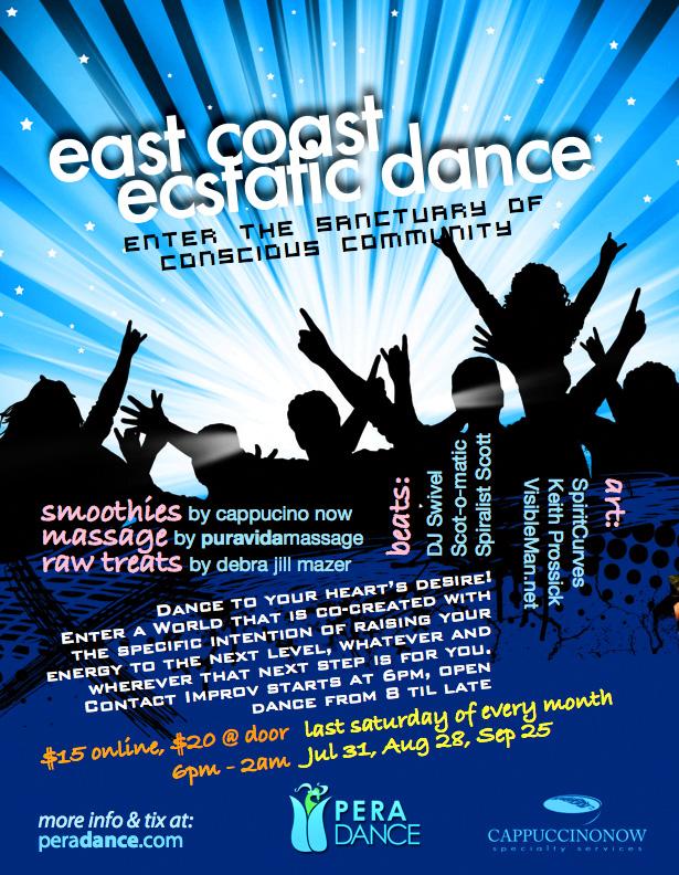 East Coast Ecstatic Dance Flyer for Pera Studio